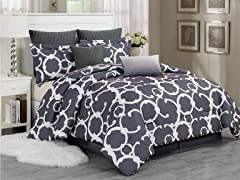 8Pc Quilted Comforter Set-Grey-King