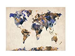 Watercolor Map 3' Canvas Art- 2 Sizes