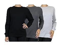 Womens 3PK Loose Fitting Thermal Shirt