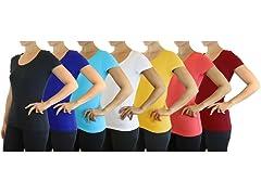Women's Cotton Stretch SlimFit Tee 5PK