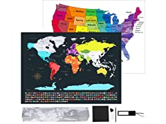 Kustares Scratch Off Map of The World and USA
