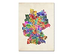 Germany Region Text Map Canvas Art