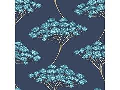 Blue Ficus Peel & Stick Wallpaper