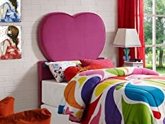 Powell Upholstered Pink Heart Twin Headboard