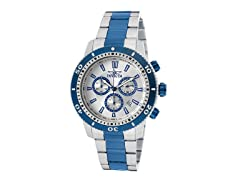 Invicta Men's Chronograph, Silver/Blue