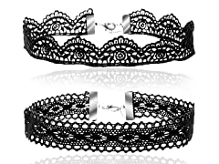 18K White Gold And Lace Chokers (2PK)