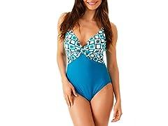 Ocean Jewel Twist Maillot Swimsuit, Turq