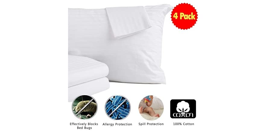Dust Mite Bed Bug Cover Zippered Pillow Protectors. 400 Thread Count Hypoallergenic Pillow Cover Jumbo//Queen Size Home Fashion Designs 2-Pack 100/% Cotton Pillow Protectors