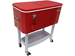 BEACON Red Steel Rolling Party Cooler