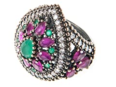 SS Dyed Emerald & Ruby Genuine Semi-Precious Gemstone CZ Ring