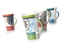 Banded Floral Mugs - Set of 4