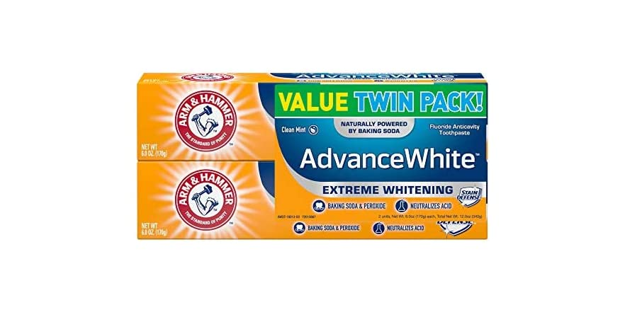 ARM & HAMMER Advanced White Extreme Whitening Toothpaste, TWIN PACK (Contains Two 6oz Tubes) -Clean Mint- Fluoride Toothpaste   WOOT