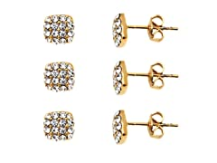 3 Pair Set of Gold & Clear Crystal Diamond-Shaped Stud Earrings