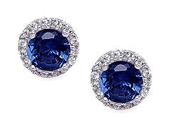 SS Blue CZ Halo Stud Earrings