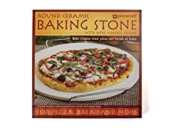 "15"" Round Pizza Stone with Wire Frame"