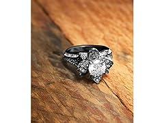 Black Pave Crystal Flower SE Ring