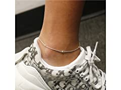 Sterling Silver Beaded Snake Anklet 9