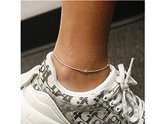 Sterling Silver Beaded Snake Anklet 9