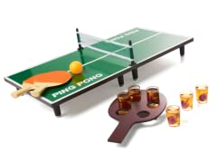 Tabletop Table Tennis & 6 Shot Glasses