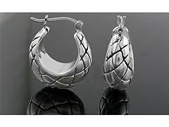 Oxidized Sterling Silver Basket Hoop