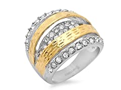 Two-Tone Ring w/ Sim. Diamonds