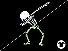Glow T-shirt: Dabbing Skeleton