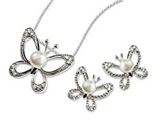 SS & Freshwater Pearl Butterfly Set
