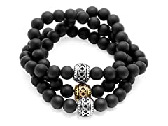 Men's Two-way Wrapped Stretch Lava Bracelet With Accent