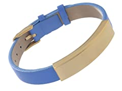14K Gold Plated Stainless Steel & Genuine Light Blue Leather ID Bracelet
