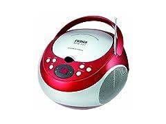 NAXA Electronics NPB-251RD Portable CD Player with AM/FM Stereo Radio Red
