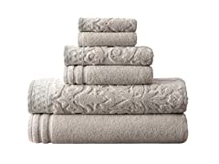 Amrapur Damask Jacquard Towel Set-6 Pack