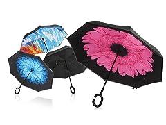 Wind-Proof, Reverse Opening Umbrella