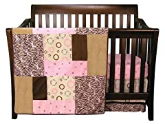 Sweet Safari Crib Bedding Set: Pink- 3 Piece