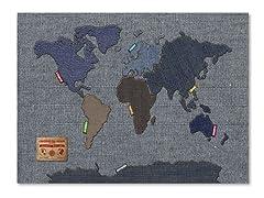 Denim World Map Canvas Art