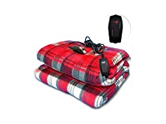 Red Plaid Heated Blanket