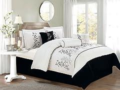 Locklyn Leaf Embellished 7 Piece Comforter Set- 2 Sizes