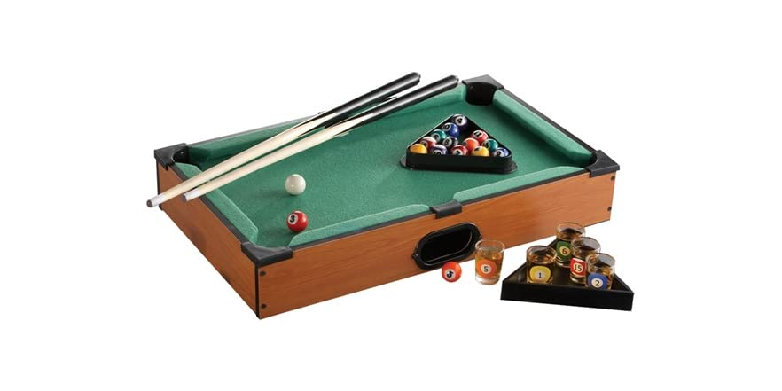 Game Night Glass Tables: Shot Glass Pool Table Drinking Game Set