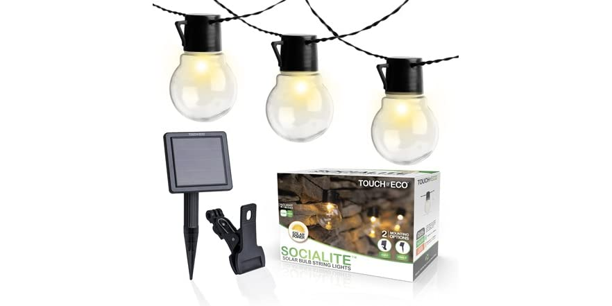 Touch of ECO Solar Patio String Lights Socialites   WOOT