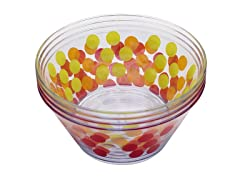 "Assorted Dot Dot 5.75"" Individual Bowls S/4"
