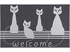 Baroque Series Cats Silver Door Mat