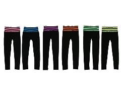 6Pk Stripes Waist Band Leggings