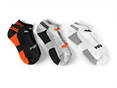 No-Show, Grey/Orange 3-Pack
