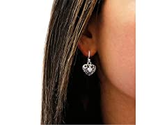 Cutout Crystal Heart Drop Earrings