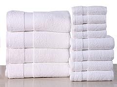 12-Piece 100% Cotton 600 GSM Towel Set