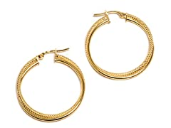 14K Gold Textured Twisted Hoop Earring