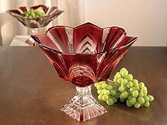 Aurora Ruby Medium Pedestal Bowl