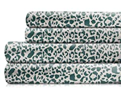 350TC Sheet Set-Ocean Green Leopard-5 Sizes