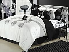 Willow 8Pc Comforter Set - White - 2 Sizes