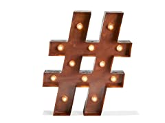 LampLust Vintage LED Marquee Hashtag Battery Light