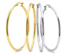 2-Pack 18kt Gold Plated Hoop Earrings